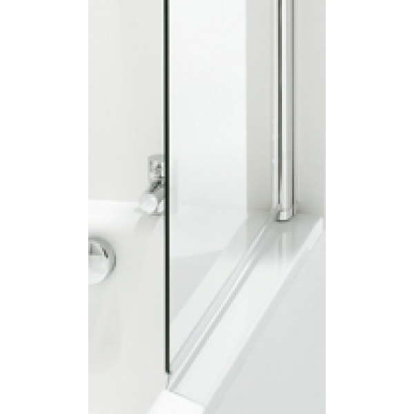 Coram Frameless Square Bathscreen/Panel 1050mm Plain Glass Chrome