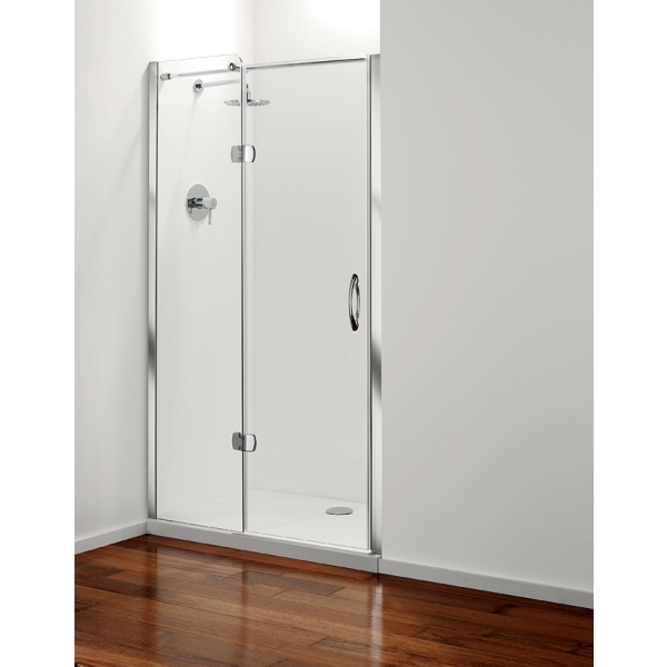 Premier frameless Hinged Door Plain Glass Chrome 1200mm Left Hand