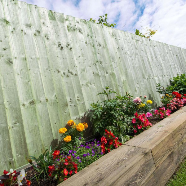 Featheredge Standard Fence Panel Green 1.5m