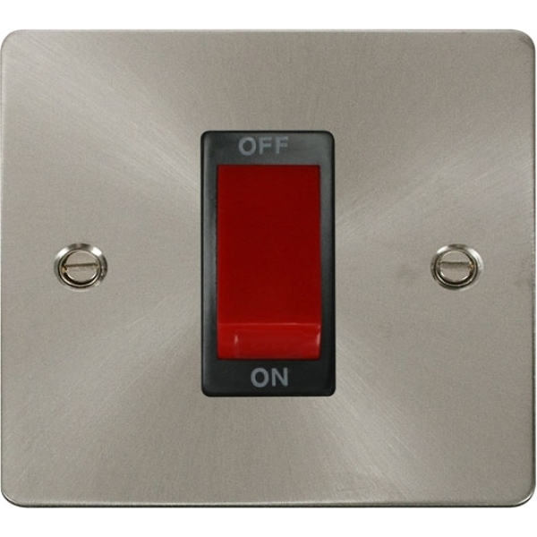 1 Gang 45A DP Switch - Brushed Stainless Steel White