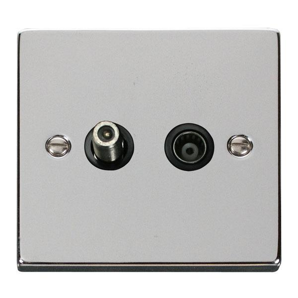 Click VPCH170BK 1 Gang Satellite & Coaxial Socket Outlet