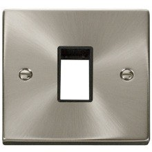 1 Gang Switch Plate Single Aperture (MiniGrid)- Satin Chrome