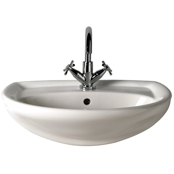 Twyford Galerie 500mm Semi-Recessed Basin 1 Taphole