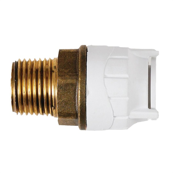 Polyfit Male BSPT Adaptor White with Brass body 10mm x 1/2""