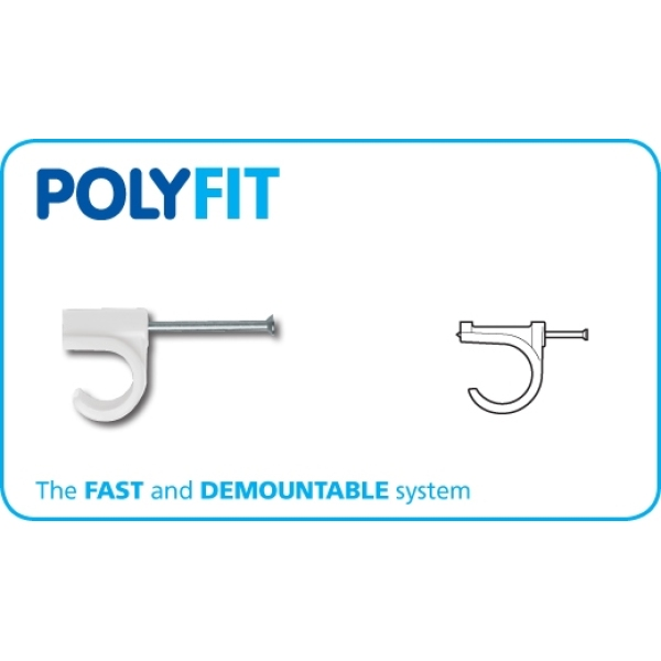 Polyfit Nail-In Clip White 15mm