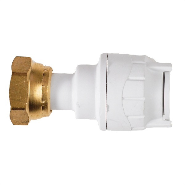 Polyfit Straight Tap Connector White 15mm x 1/2""