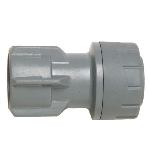 "Polyplumb Hand Tighten Tap Connector (Not suitable for Central Heating) 15mm x 1/2"" Grey"