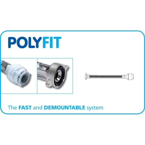 "Polyfit X 2 Flexible Hose Tap Connector Imperial 15mm x 1/2"" x 150mm"