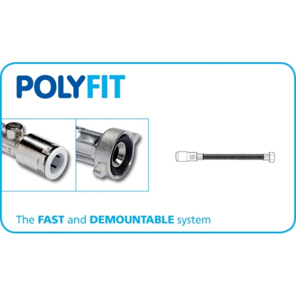 "Polyfit Flexible Hose Tap Connector 15mm x 1/2"" x 500mm"