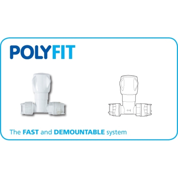 Polyfit Stopcock White 15mm x 15mm