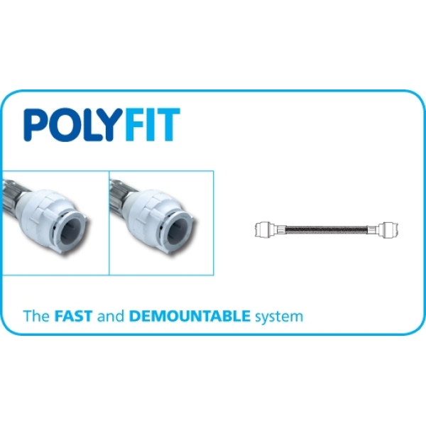 Polyfit X 2 Flexible Hose Tap Connector Metric 15mm x 15mm x 300mm