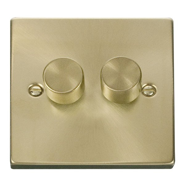 2 Gang 2 Way 400W Dimmer Switch for Tungsten/Halogen-Satin Brass
