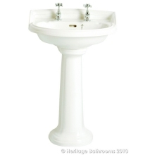 Heritage Dorchester Medium Basin White 2 Taphole
