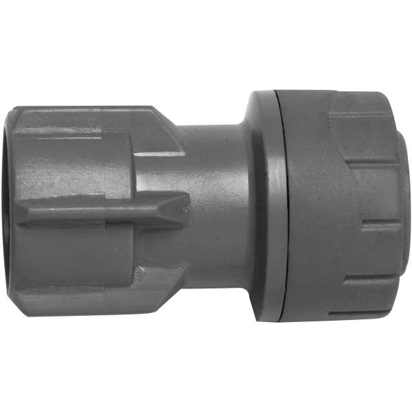 "Polyplumb Hand Tighten Tap Connector (Not suitable for Central Heating) 22mm x 3/4"" Grey"