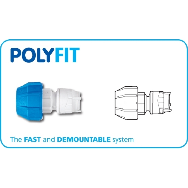 Polyfit MDPE Adaptor White 25mm x 15mm