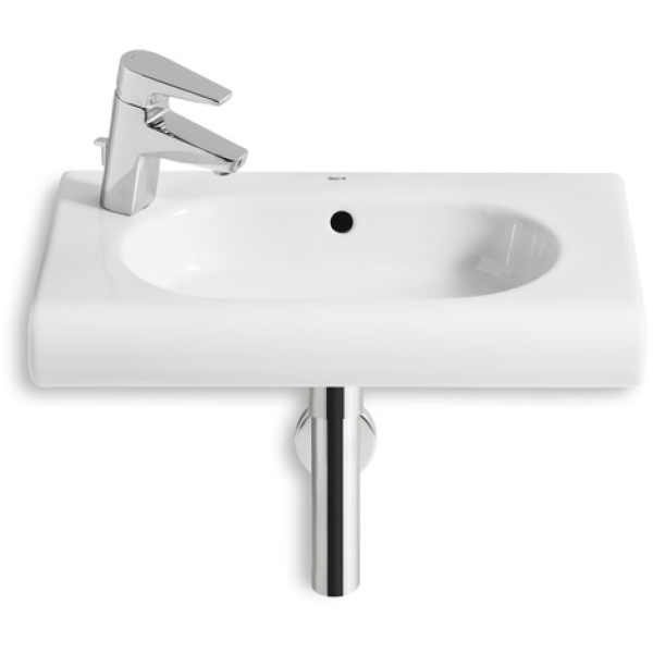 Roca Meridian Compact Wall Mounted Basin 1 Tap Hole White 550mm Left Handed