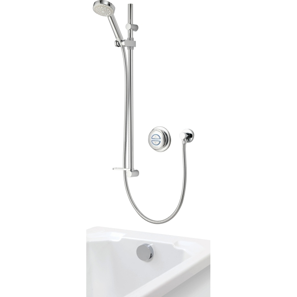 Aqualisa Quartz Concealed Divert with Adjustable Head & Bath Filler Gravity Pumped