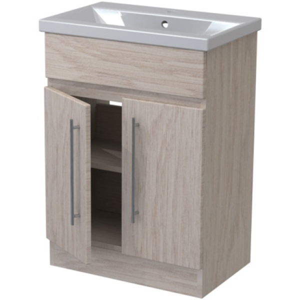 Atlanta Concepts Zest Floor Standing Vanity Unit 600mm White Gloss/ Graphite Lucido