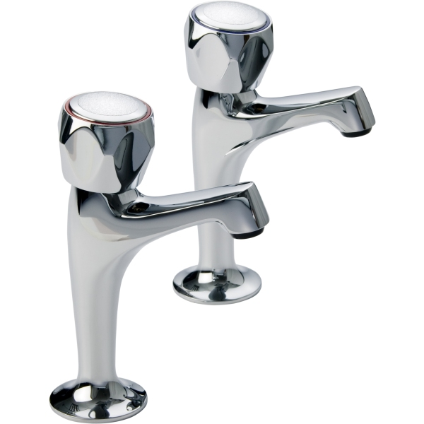 Aura Focus High Neck Sink Taps Pair Chrome Plated