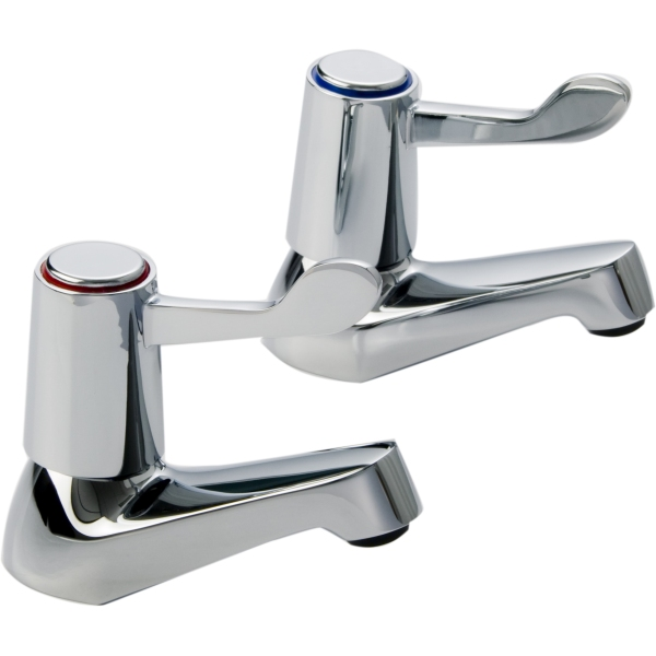 Aura Lever Basin Taps Pair Chrome Plated