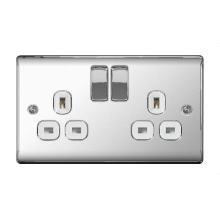 BG NPC22W 2G DP Switched Socket Nexus Polished Chrome