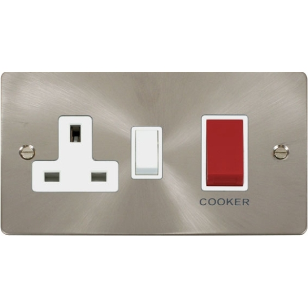 45A DP Switch +13A DP Switched Socket - Brushed Stainless Steel Black