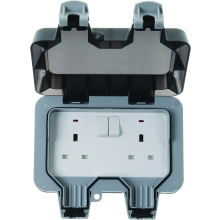 British General 2G Double Pole Switch Socket IP66 Nexus Storm