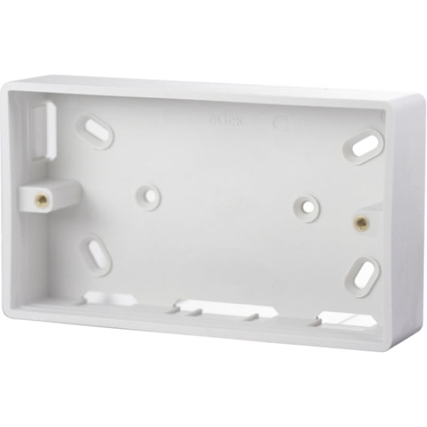 Click CMA235 2 Gang 29mm Deep PVC Pattress Box - Trunking