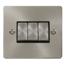 Click FPBS413BK Ingot 10AX 3 Gang 2 Way Switch