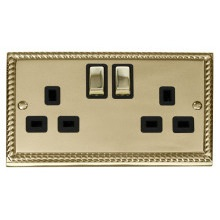 Click GCBR536BK 2 Gang 13A DP 'Ingot' Switched Socket Outlet