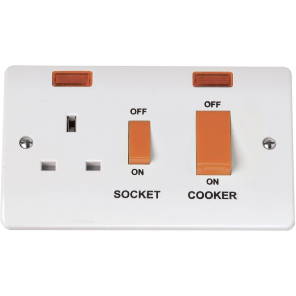 Click CMA205 45A Cooker Switch With 13A DP Switched Socket Outlet And Neons