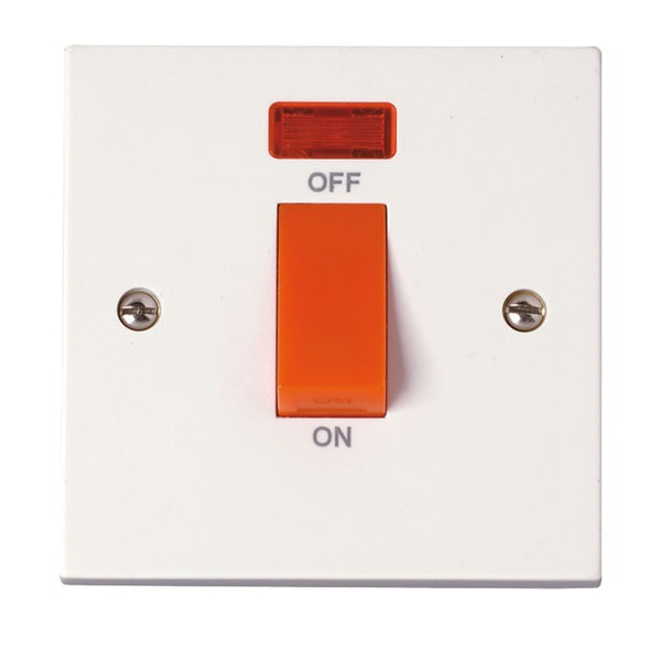 Click PRW201 45A DP Plate Switch With Neon