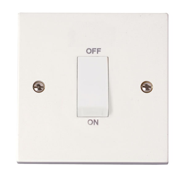 Click PRW500 1 Gang 45A DP Switch (White Rocker)
