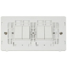 Click SIN019PW 10AX 4 Gang (2 x 2) 2 Way Switch Insert - White
