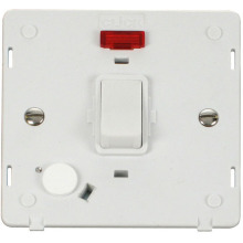 Click SIN023PW 20A DP Switch With Flex Outlet & Neon Insert - White