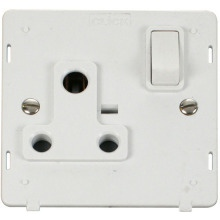 Click SIN034PW 1 Gang 15A Round Pin Switched Socket Insert - White