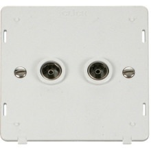 Click SIN066PW Twin Coaxial Socket Insert - White