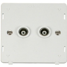 Click SIN159PW Twin Isolated Coaxial Socket Insert - White