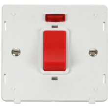 Click SIN201PW 45A 1 Gang Plate DP Switch With Neon Insert - White