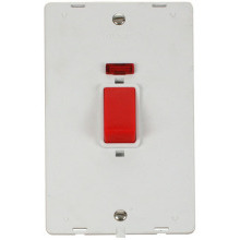 Click SIN203PW 45A 2 Gang Plate DP Switch With Neon Insert - White
