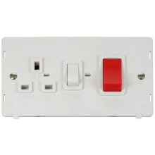 Click SIN204PW 45A DP Switch + 13A DP Switched Socket Insert - White