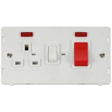 Click SIN205PW 45A DP Switch + 13A DP Switched Socket With Neons Insert - White