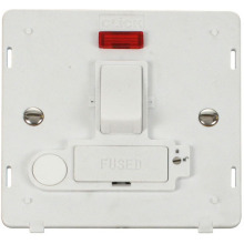 Click SIN252PW 13A Fused Switched Connection Unit With F/O & Neon (Lockable) Insert - White