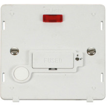 Click SIN253PW 13A Fused Conn. Unit With Flex Outlet & Neon (Lockable) Insert - White