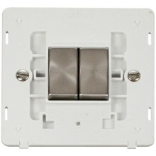 Click SIN412PWBS INGOT 10AX 2 Gang 2 Way Switch Insert - White / Brushed Stainless