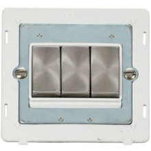 Click SIN413PWBS INGOT 10AX 3 Gang 2 Way Switch Insert - White / Brushed Stainless