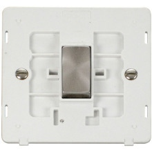 Click SIN425PWBS INGOT 10AX 1 Gang Intermediate Switch Insert - White / Brushed Stainless