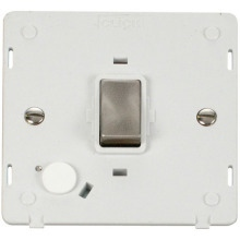 Click SIN522PWBS INGOT 20A DP Switch With Flex Outlet  Insert - White / Brushed Stainless