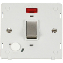 Click SIN523PWSS INGOT 20A DP Switch With Flex Outlet & Neon Insert - White / St. Steel