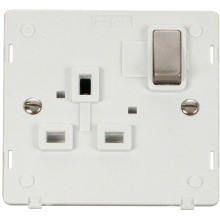 Click SIN535PWBS INGOT 1 Gang 13A DP Switched Socket Insert - White / Brushed Stainless